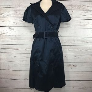 OC By OC Dress Navy Blue Shiny Button Front Belted